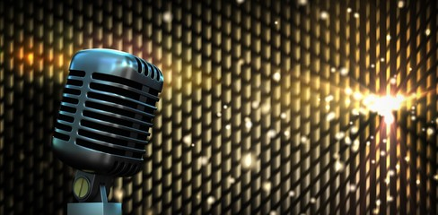 Composite image of digitally generated retro chrome microphone