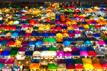 closeup multi-colored tents /Sales of second-hand market in Bangkok, Thailand.