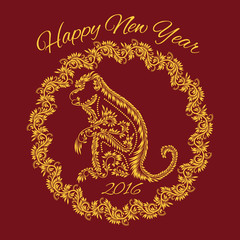 Fiery monkey year greeting card template. Floral patterned concept with monkey in wreath and inscription Happy New Year 2016.