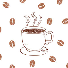 Cup of hot coffee isolated on white background. Doodle vector illustration.