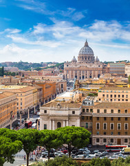 Fototapete - Rome and Basilica of St. Peter in Vatican