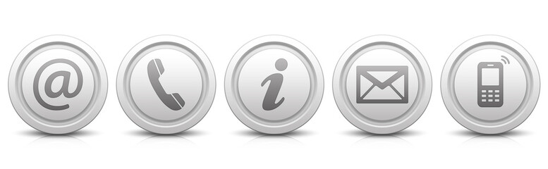Contact Us – Set of light gray buttons with reflection & white