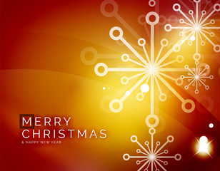 Christmas orange abstract background with white transparent snowflakes