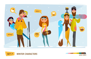 Winter characters with snowboard set