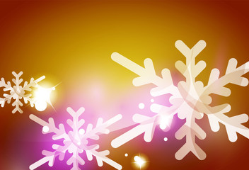 Christmas yellow abstract background with white transparent snowflakes