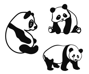 panda cute fun logo template illustration