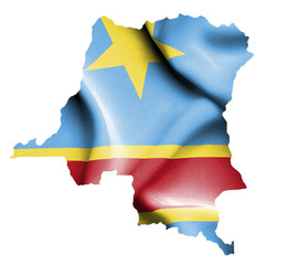 Map of Democratic Republic of Congo with waving flag isolated on