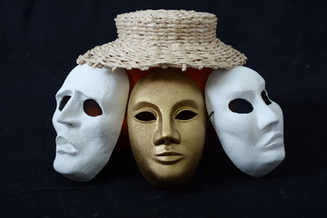 theatrical mask on a dark background