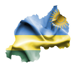 Map of Rwanda with waving flag isolated on white