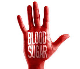 Blood Sugar written on hand isolated on white background