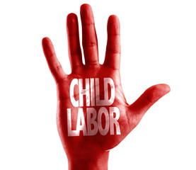 Child Labor written on hand isolated on white background