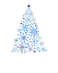 Stylized Christmas tree with snowflake ornaments