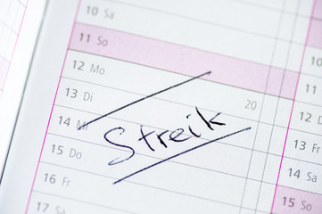 "Kalendereintrag ""Streik"""
