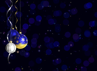 Christmas and new year greeting card with baubles and space for text