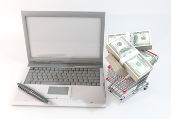 Money full Shopping Cart with Computer isolated