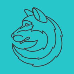 Wolf head logo. Line art style.