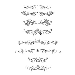Vector set of calligraphic design elements, page decoration