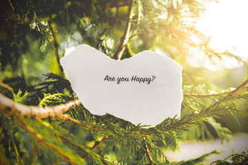 """Are you happy?"" text in a pine tree in vintage colors."