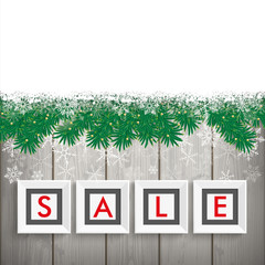 Christmas Sale Frames Snow Twigs Wood
