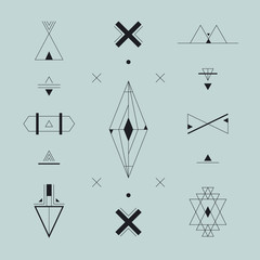 Set of vector trendy geometric icons, logos, signs. Hipster symbols collection