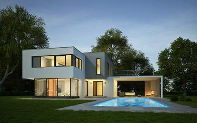 Haus Kubus weiss_grau mit Pool am Abend