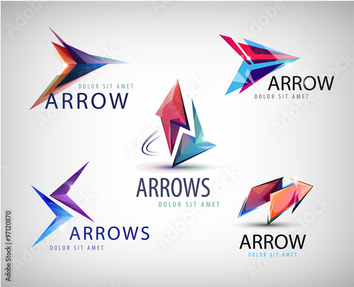 quot vector set of 3d colorful arrow logos icons quot stock image and royalty free vector files on