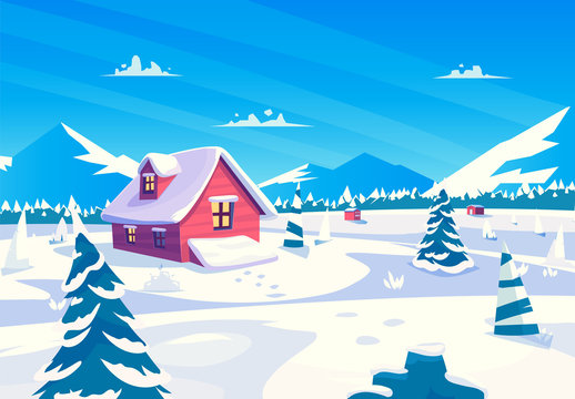 Vector cartoon illustration of a beautiful snow covered village at day. square view