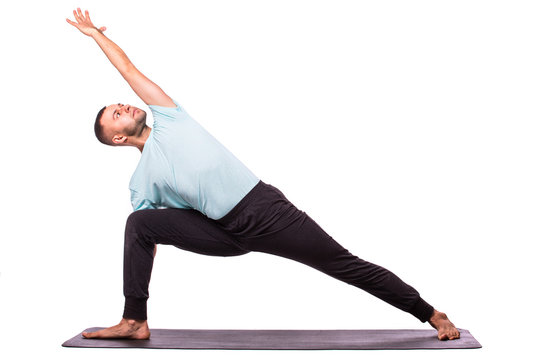 Man is making yoga isolated over white background
