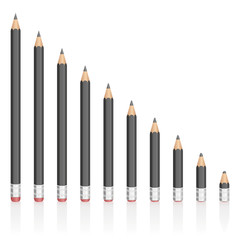 Graphite pencils getting shorter - symbolic for contraction, reduction, decrease, loss. Isolated vector illustration on white background.