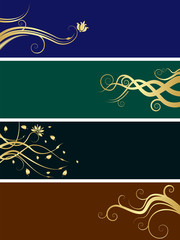 An array of abstract floral web banners in assorted colors