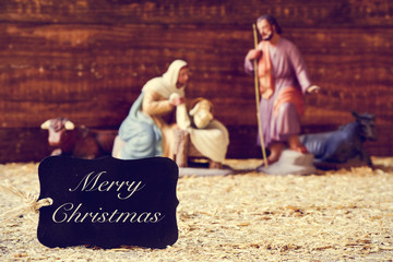 holy family and text merry christmas