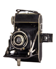 vintage camera on a white isolated background