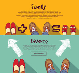 Family relations and divorce people horizontal banner set