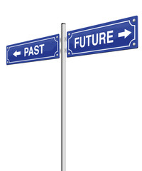 PAST and FUTURE, written on two signposts. Isolated vector illustration over white background.