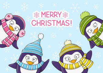 Christmas card with cartoon penguins