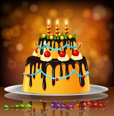 beautiful happy birthday cake on artistic background