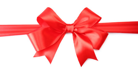 Big red bow isolated on white background