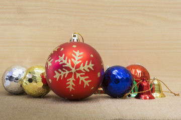 Christmas decoration on wood board