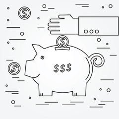 Piggy bank think line icon. Vector.