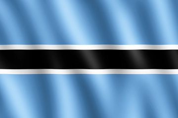 Flag of Botswana waving in the wind