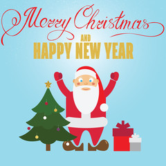 Christmas poster design with Santa Claus, christmass tree and