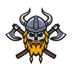 Viking warrior skull and axes logo.