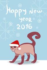 Postcard - Happy New Year Monkey