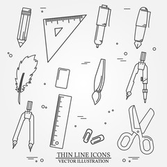 Drawing and writing tools icon thin line for web and mobile, mod