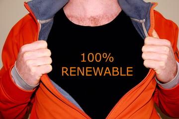 100% renewable geschrieben auf einem schwarzen T-shirt