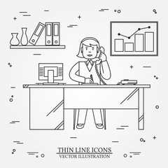 Office woman , Business woman.  Thin line  icon for web and mobi