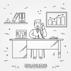 Office man , Business man.  Thin line  icon for web and mobile.