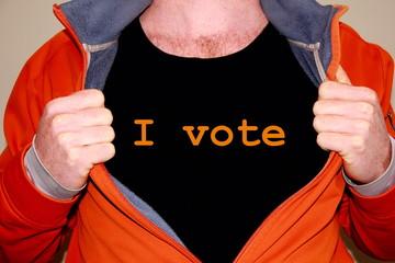 I vote geschrieben auf einem T-shirt