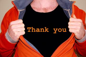 Thank you geschrieben auf einem schwarzen T-shirt