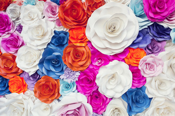 Colorful paper flower for backdrop wedding wallpaper.